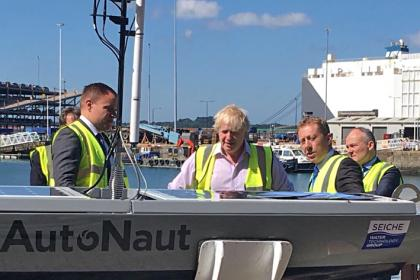 Boris Johnson views the AutoNaut