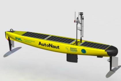 "The AutoNaut-5m USV ""PML Pioneer, picture of the vessel"